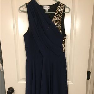 Navy Blue and Gold sequin dress